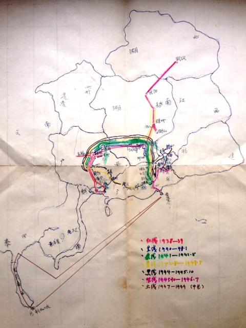 一幅手繪地圖,反映抗宣一隊-演劇七隊抗戰期間的行軍路線圖。