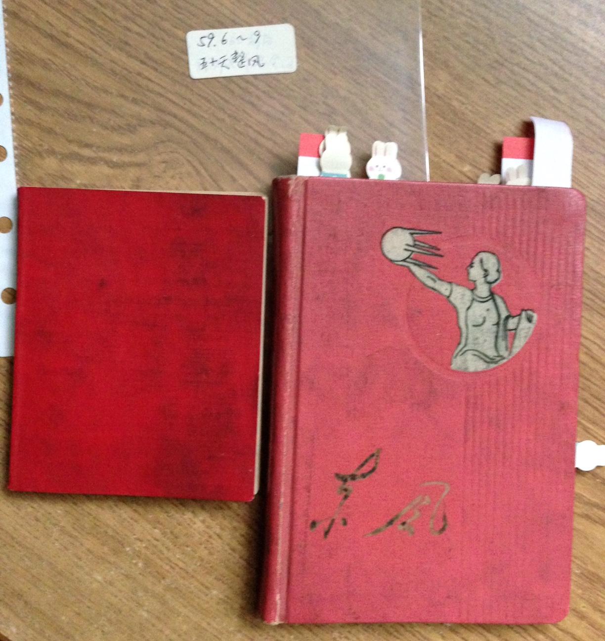 一大一小兩個紅皮筆記本,內容關於1959年中共中央召集港澳工委幹部整風、認清國際國內形勢、認清中央香港政策