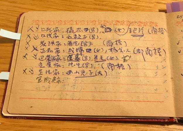 一頁吳荻舟的四清工作筆記:耕讀小學名單如小賴子、小兔子等等。